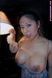 Busty chinese pornstar Tiger Bensons messy cumshot